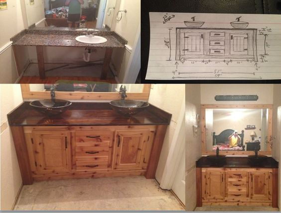 DIY Bathroom Vanity I used a pine top and stained it dark walnut ...