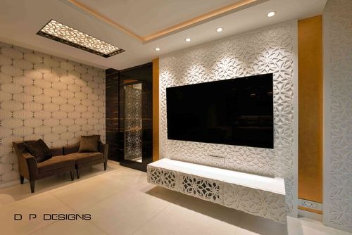 S Residence By D P Designs Piyush Dharani Interior Designer In Mumbai Maharashtra India Modern Tv Wall Units Bedroom Tv Wall Tv Wall Design