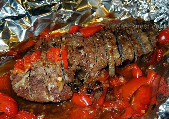 Foil Baked London Broil with sweet peppers and onions.  Flavor was good but Meat was very tough!  Will us a chuck roast if I ever try this again.