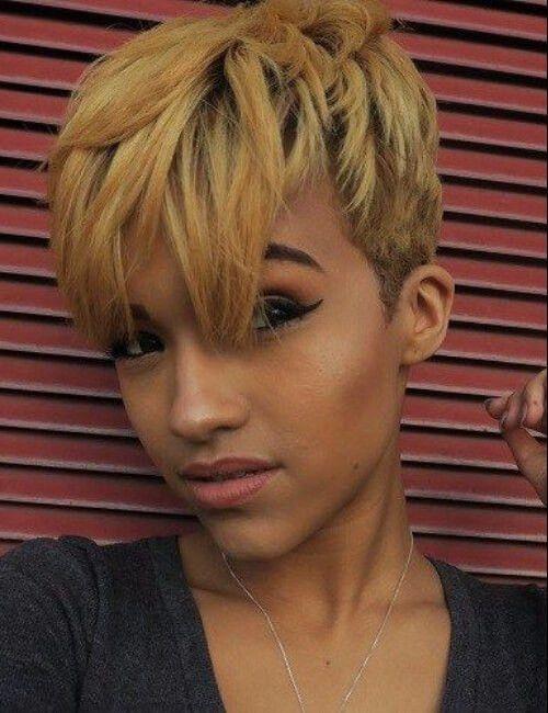 Short Black Hairstyle With Honey Highlights For Black Women Honey Blonde Hair Longer Pixie Haircut Short Pixie Haircuts