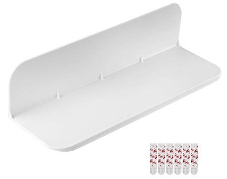 Amazon Com Elhook 12 White Removable Stick On Shelf For Household Bathroom And Kitchen Items Electronics Small Wall Shelf Command Shelves Shelves In Bedroom