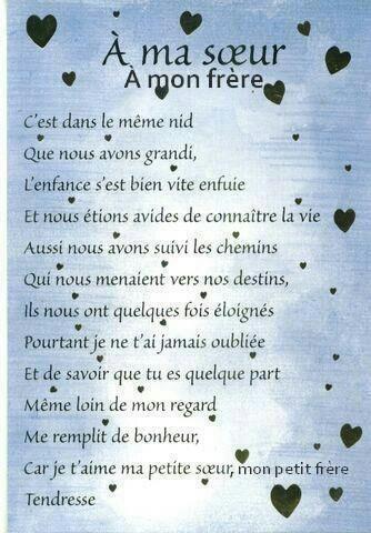 Panneau à Ma Soeur à Mon Frère Quote Citation French