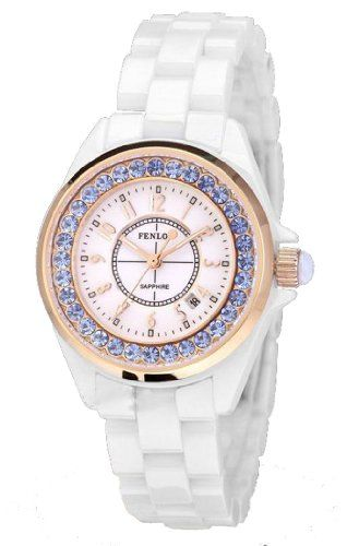 Fenlon Women's White Ceramic Bracelet Blue Diamonds Rose Gold Watch | Your #1 Source for Watches and Accessories