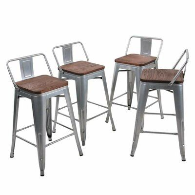 Williston Forge Salerno 24 Bar Stool Color Silver Metal Bar