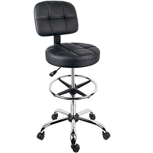 Leopard Round Drafting Chair Adjustable Swivel Tall Drafting Stool Office Chair For Standing Desk With Back An Drafting Chair Office Chair Tall Office Chairs