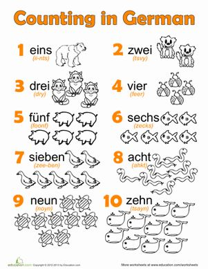 Printables German For Beginners Worksheets german numbers language kid and foreign languages first grade worksheets numbers