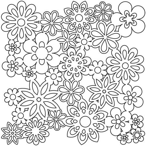 """Gathered Flowers - 6"""" x 6"""" Crafter's Workshop Template (stencil).  Perfect for use with polymer clay, chalk, markers, craft paint and more! Made of easy to wide clean plastic. A variety of designs are available.  Check them out at Poly Clay Play!"""