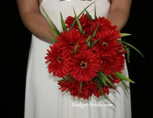 Flame Red Cheap Silk Wedding Bouquet