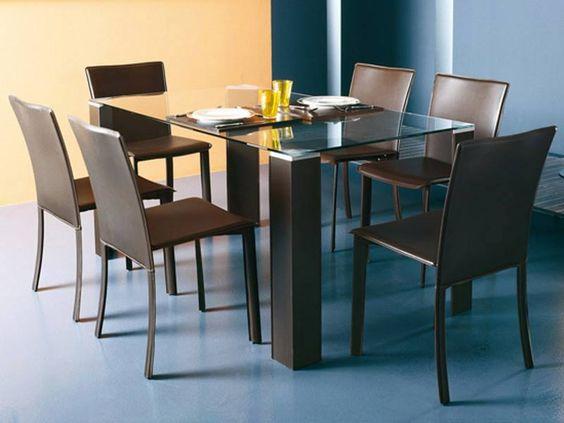 Hermosa mesa de comedor con tope de cristal transparente for Mesas de comedor cristal transparente