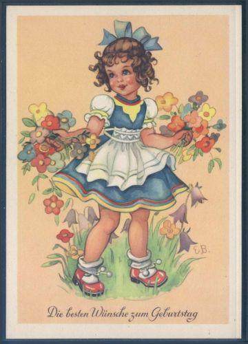 Künstlerkarte - sign. EB - Geburtstag ( K01177 ), Briefmarken-Versand-Welt - Briefmarken, Ansichtskarten und mehr