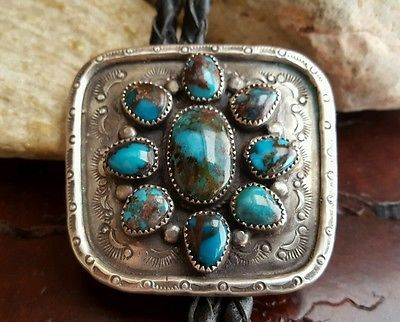 Vtg-Navajo-RARE-Gem-Grade-SMOKY-BISBEE-Turquoise-Sterling-Turquoise-BOLO-TIE