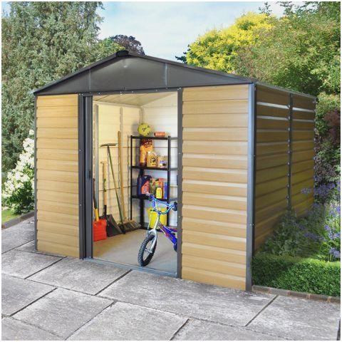 10 X 6 Yardmaster Balmoral 106wgl Wood Effect Metal Shed Metal Shed Shed Wood Storage Sheds