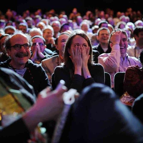 """TED Playlist: The funniest TED Talks • 1) Maysoon Zayid: I got 99 problems... palsy is just one 2) Ze Frank: Nerdcore comedy 3) Emily Levine: A theory of everything 4) Shawn Achor: The happy secret to better work 5) Julia Sweeney: It's time for """"The Talk"""" 6) Bob Mankoff: Anatomy of a New Yorker cartoon 7) Randall: Munroe Comics that ask """"what if?"""" 8) Ken Robinson: How schools kill creativity 9) Sarah Jones: A one-woman global village"""
