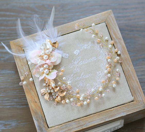 Gold leave pearl Flower wedding hair vine by LeahWorkshopDesigns