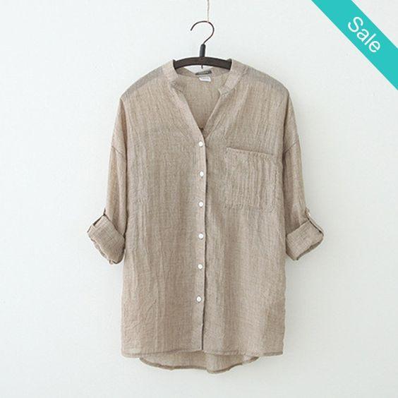Casual Linen Blouse -                             Casual Linen…