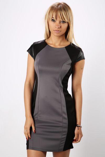 PU Sleeve Colour Block Dress