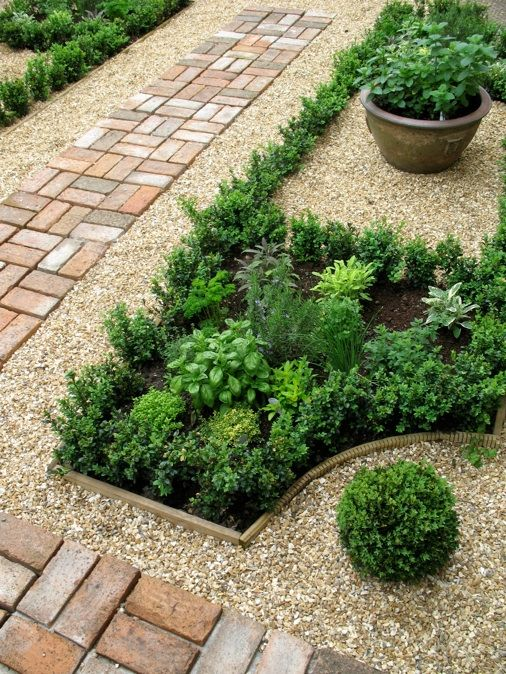 Maybe not herbs, but I really like the idea of this kind of structure in the back yard. Pea gravel separates the shaped beds, nice. Choose plants that will thrive in my unfortunate climate.