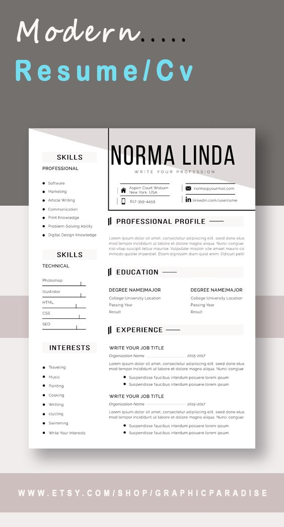 Professional Resume L Cv Template I Instant Download Ms Word Resume With Cover Letter Reference Template One And Two Page Resume One Page Resume Template Resume Words Cv Template