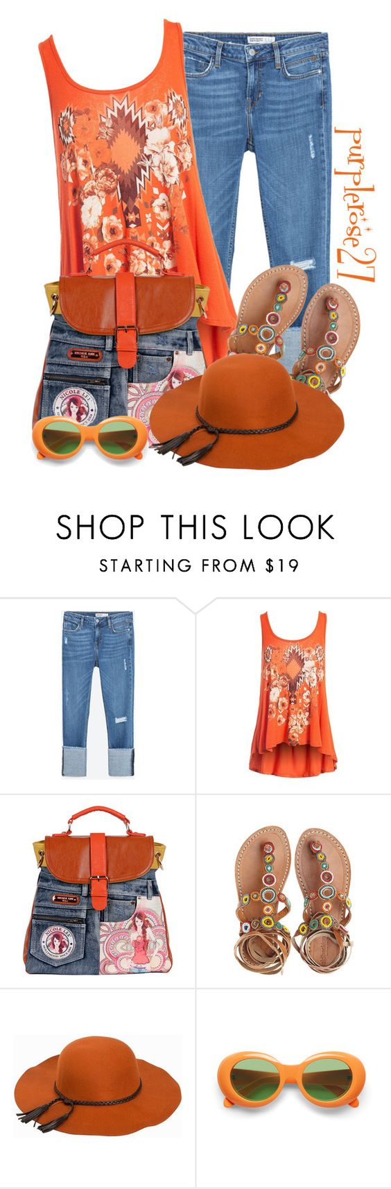 """DENIM BAG"" by purplerose27 ❤ liked on Polyvore featuring Zara, Sans Souci, Nicole Lee, Laidback London and Vero Moda"