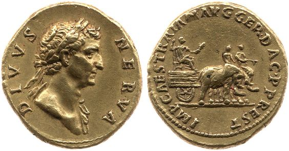 Golden Aureus of Nerva.