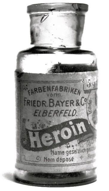 Bayer Heroin. Between 1890 and 1910 heroin was sold as a non-addictive substitute for morphine... It was also used to treat children suffering with a strong cough.