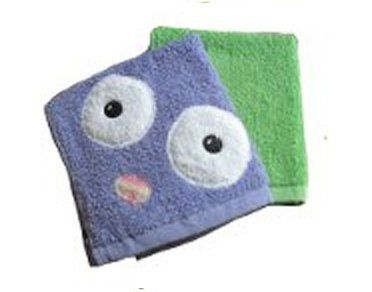"""Purple Monster Washcloth Set by Yikes Twins. $14.00. Primary Color: Purple,Green. Theme: Monsters. Usually ships in 5-7 business days14"""" x 13""""This adorable Purple Monster Washcloth set is a perfect accessory for bath time. Each washcloth set comes with two uniquely themed washcloths. The first washcloth of the set is a purple washclothwithfelt eyes and a tie-dyed felt nose. The washcloth also features a ribbon tab for hanging when wet. The second washcloth ..."""