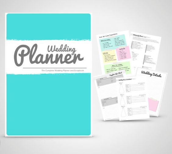 Wedding Planner Binder Printable Teal Organiser Folder Instant Digital Download