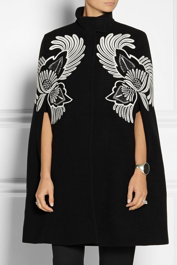 Stella McCartney Floral-embroidered wool cape NET-A-PORTER.COM