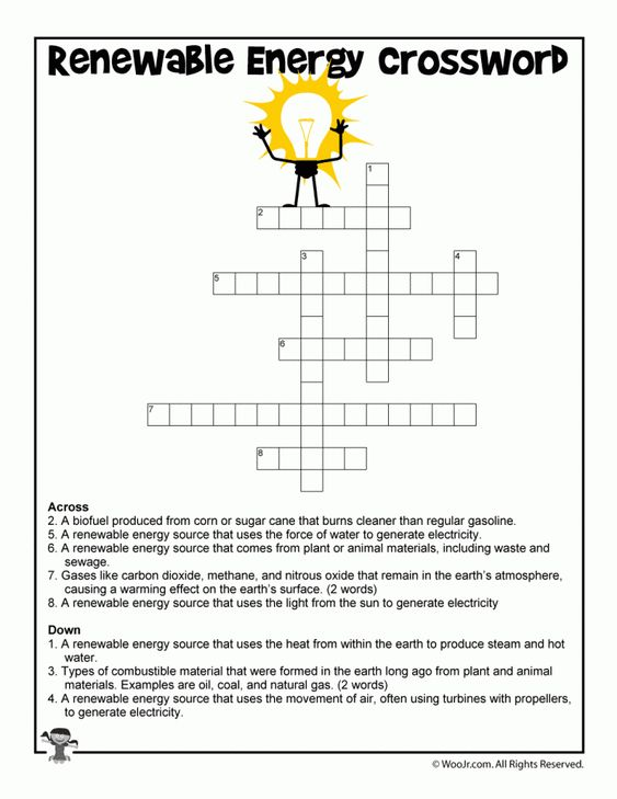 Clean Energy Crossword Worksheet For Kids Renewable Energy Lessons Renewable Energy Projects Renewable Energy