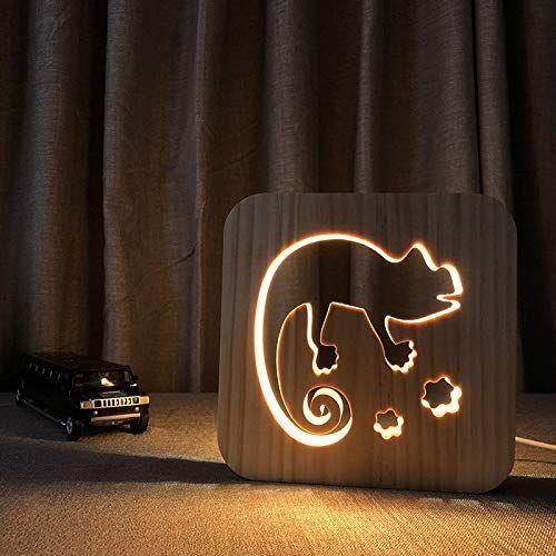 Nachtlicht Holzerne Schnitzerei Der Lampe Der Karikatur 3d Der Illusion Des Chamaleons Der Karikatur Led Warmes Weisses Nachtlicht Kreative Lampen Nachtleuchte