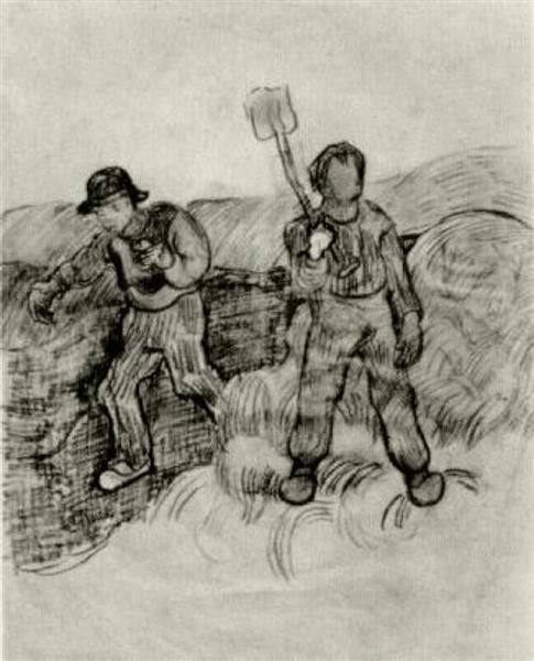 A Sower And A Man With A Spade 1890 Vincent Van Gogh Artist Van Gogh Vincent Van Gogh Van Gogh