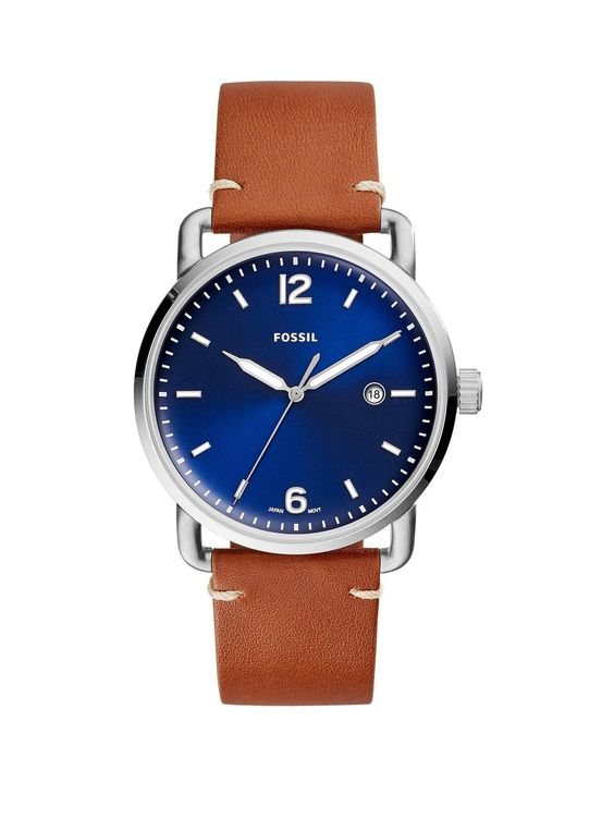 Fossil Fossil Blue And Silver Detail Daydate Dial Brown Leather Strap Mens Watch in One Colour