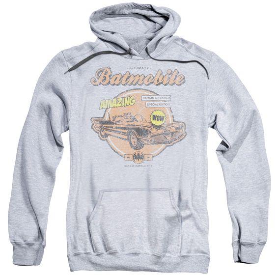 Batman Adult's Amazing Batmobile Athletic Heather Cotton/ Pullover Hoodie, Men's