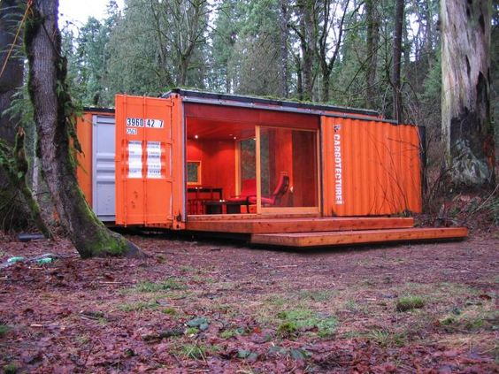 Little Cargo Container In The Big Woods This Cargotecture Cabin Is Used As A Guesthouse On A