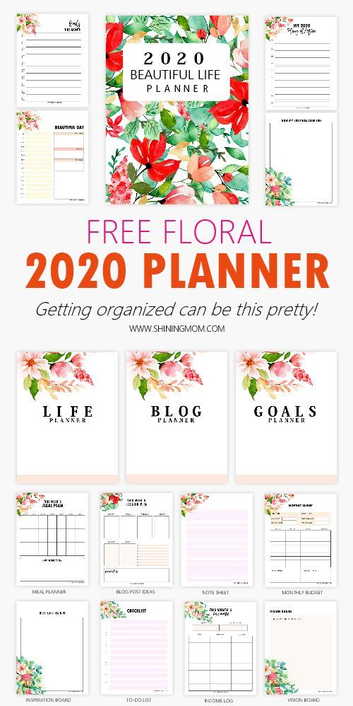 Free Monthly Calendar 2020 And Life Planner In Pretty Florals