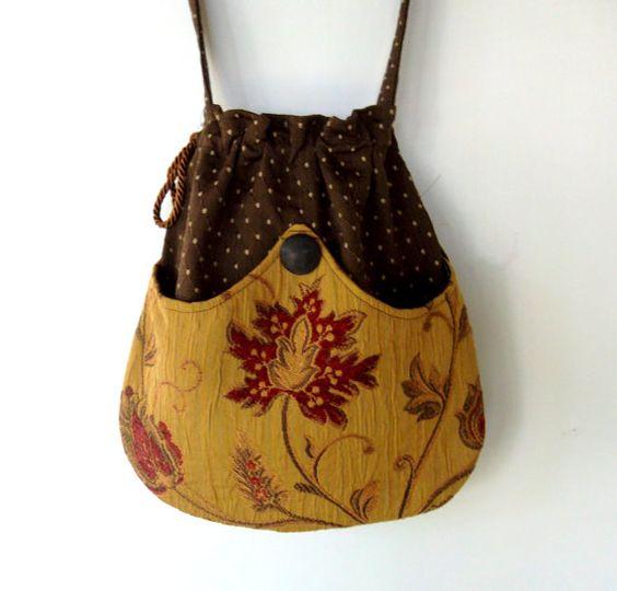Pocket Boho Bag  Drawstring Bag   Bohemian Bag  by piperscrossing, $40.00
