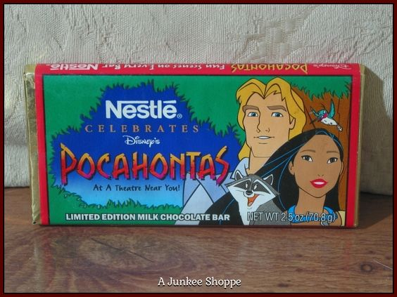 POCAHONTAS, The Disney Movie 1995 Nestle Promotional Release Candy Bar Unopened  P733  http://ajunkeeshoppe.blogspot.com/
