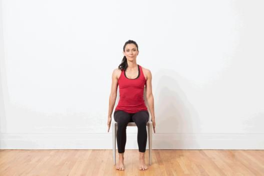 10 Yoga Poses You Can Do In A Chair Chair Raised Hands Pose Urdhva Hastasana Backpain Chair Pose Yoga Chair Yoga Yoga Poses For Men