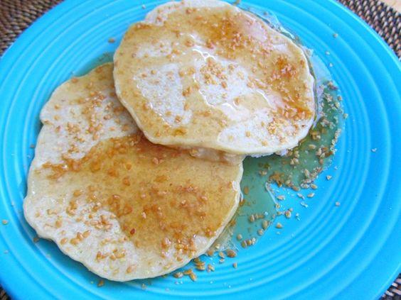 Definitely want to try these pancakes from the blog Peanut Butter Fingers!    1/2 c. flour  1/2 c. oats  1 tbsp. Kelapo coconut oil  1 tbsp. sugar  1 egg  1/2 c. almond milk  1 tsp. baking powder