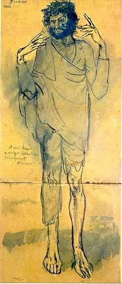 """""""El Loco"""", desenho de Pablo Picasso. 1904, Período Azul. Museu Picasso, Barcelona, Espanha."""