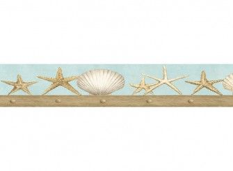 Seashell border seashell wallpaper border for bathrooms for Bathroom border paper