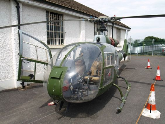 "Former British Army Air Corps Westland Gazelle XW863, at Farnborough Air Sciences Trust (FAST) . ©FlyPast-Nigel Price. I remember seeing them almost daily in my youth, back in Northern Ireland, known as ""Heli Telly"" because of surveillance cameras, and also operated at night, equipped with a hi powered searchlight - Nightsun."