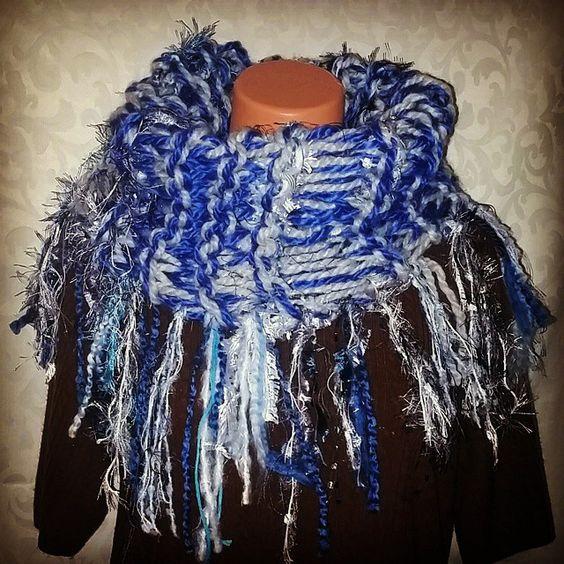 """New super chunky blue,  white, grey & aqua blue shaggy cowl ready for the website.  Menmomdesigns@gmail.com Www.Menmom.storenvy.com #menmomdesigns…"""