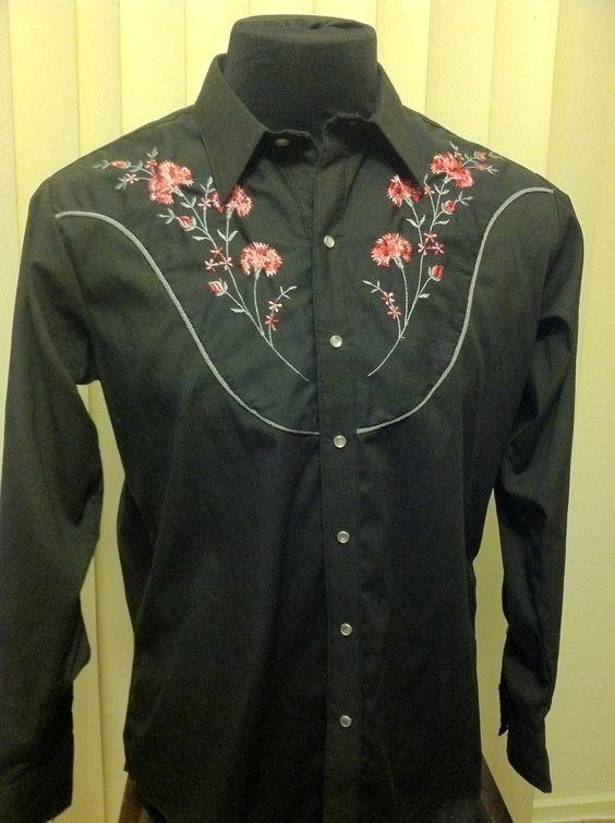 Vintage Retro Western Wear Floral Flower Design Long