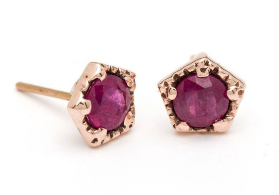 Ruby Pentagon Studs – Arik Kastan Rose Gold