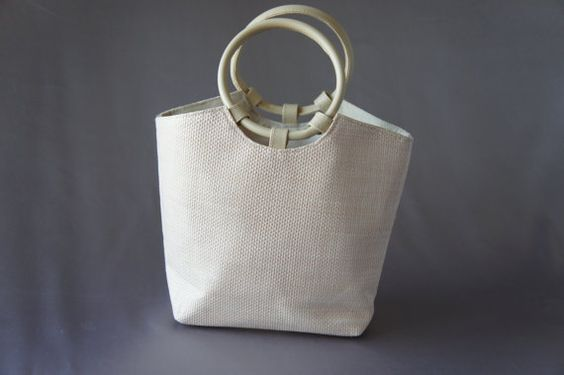 80's handbag off white purse round handle bag mint by PurseFancy