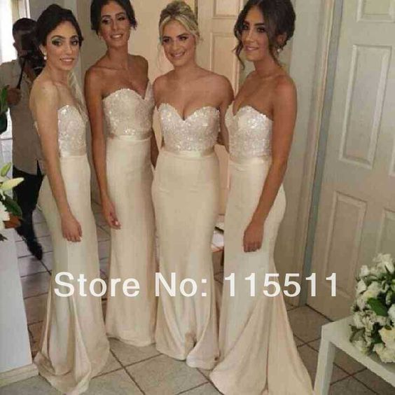 2014 new arrival glamorous formal wedding party dress sequin bead sweetheart ivory chiffon long bridesmaid dresses free shipping