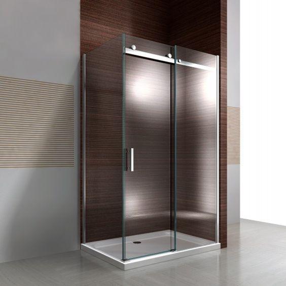 Paroi de douche fixe et porte coulissante EX806 - en verre de sécurité…