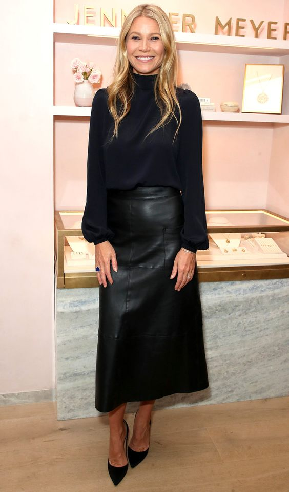 Gwyneth Paltrow in a black high-neck shirt with coordinating skirt and pumps at the Jennifer Meyer Boutique opening party in L.A.