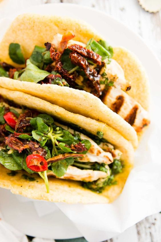 Chimichurri Chicken Tacos with Tomato and Watercress Salad - a stunning but easy recipe! Made with chili and lime and sure to be a show-stopper this summer!  | savorynothings.com